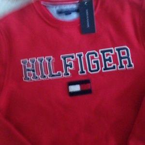 Tommy Hilfiger Shirts - Tommy Hilfiger Red Hilfiger Flag Sweatshirt